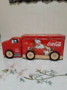 Vintage Coca-cola Tin Truck With Santa Painted