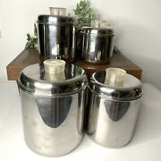 Vintage Revereware Stainless Steel Set Of 4 Nesting Canisters