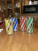 Lot Set 4 Libbey Libby Vertical Stripe Striped Tumblers Drinking Glasses