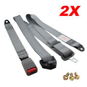 2pc 3-point-fixed 3pt Harness Safety Shoulder Adjustable Seat Belt Clip Gray