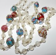 Vintage Murano Venetian Glass Wedding Cake Bead Gold Blue Pink Red Necklace 39andrdquo