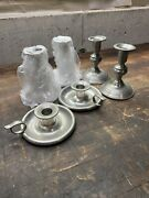 Woodbury Pewterers Pewter Candle Holder Lot - 2 Brand New, 4 Used, 6 Total