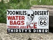 Rare Vintage Thirstyandrsquos Diner Route 66 Ande Rooney Porcelain Advertising Sign