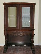 Antique 1900 Carved Record Storage Cabinet Solid Walnut Beveled Mirror Exc Cond