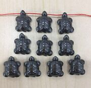 50pcs 18x13mm Charming Carved Small Turtle Hematite Pendant Beads