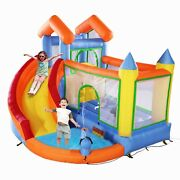 Inflatable Bounce House With Slide Trampoline Splash Pool Water Canon Climb Wall