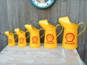 Graduated Shell Oil Cans X5 Petrol Advertising Mancave 33cm Repro