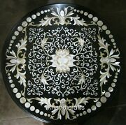 36 Inches Marble Coffee Table Top Inlay With Mop Work Dining Table Home Decor