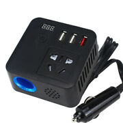 150w Car Auto Power Inverter Dc 12v To Ac 220v Adapter W/ 3 Usb Socket Charger