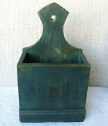 Bafa 15 Old Antique Primitive Wooden Hanging Wall Box Blue Painted 1879 Dated