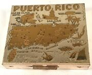 Vintage Map Of Puerto Rico Square Silver And Goldtone Souvenir Compact C1950's