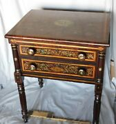 Antique Sheraton Hand Painted Work Table Nightstand Gilded Mahogany Ca. 1830