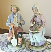 Homco Home Interiors Old Man And Woman Porcelain Figurines 1433 Ship Included