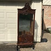 Antique French Louis Xv Style Carved Oak Glass Vitrine Display Cabinet Bookcase