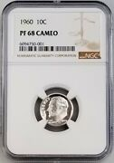 1960 Proof Roosevelt Silver Dime Certified Pf 68 Cameo By Ngc