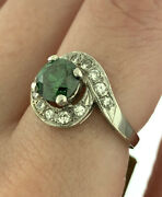 Vintage 1.15ctw Green Irradiated Diamond Bypass Engagement Ring 14k White Gold 6