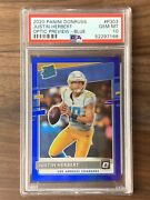 2020 Donruss Optic Preview Blue Justin Herbert Chargers Rc Rookie /125 Psa 10