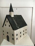 Wooden Church W/ Steeple Initialed Numbered Hand Painted Americana Handmade