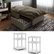 White Bedroom Set Furniture Modern Bed Twin Size 3 Piece Nightstand Leather New