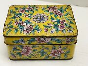 Antique Chinese Yellow Enamel Hand Painted Floral Metal Box
