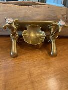 Antique French Brass Bathroom Wall Tub Faucet Double Chaud Froid Porcelain Top