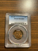 1931-s Lincoln Wheat Penny Cent 1c Pcgs Ms 64 Red Rd Type 1 Wheat Reverse Rare