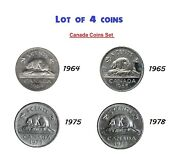Lot Of 4 Coins - Canada 1964 1965 1975 1978 Nickle 5 Cent 5c
