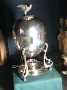 C19th Silver Plated Egg Coddler With Burner And Chicken On Nest Knop / Handle