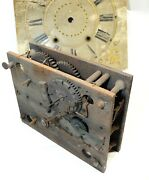 Antique 18th Century Carved Wood Clock Movement And Painted Face Primitive Parts