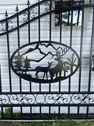 New Driveway Wrought Iron Ornamental Entrance Gate 14 Ft. Deer Country Scene