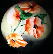 Antique Victorian Gone With The Wind Lamp Globe Shade Hand Painted Poppies