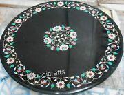 42 Inches Marble Kitchen Table Top Hand Inlaid Coffee Table With Royal Pattern
