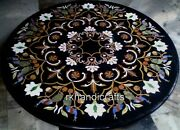 48 Inches Marble Dining Table Top Hand Inlaid Kitchen Table With Royal Pattern