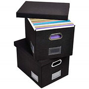 Superjare Updated File Box For Hanging Files, Set Of 2, Storage Office Box With