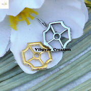 Pave Diamond Wheel Beads Gold Plated Finding 925 Sterling Silver Jewelry Making