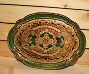Vintage Italian Hand Made Floral Wood Tole Serving Tray Platter
