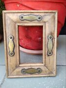 Vintage Wooden Hand Crafted Brass Work Wall Hanging Picture/mirror Frame