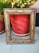 Vintage Wooden Hand Crafted Brass Embedded Work Wall Hanging Picture Frame