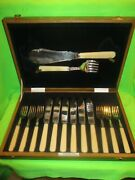 Antique Fish Cutlery Silver Plated Watson And Gillott In Wooden Case