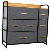 Dresser With 7 Drawers Storage Tower Organizer Unit For Bedroom Living Grey