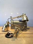 Vintage Industrial Brass Wall Lamps, Nautical Machinist Anglepoise