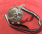 Iraq- Saddam Hussein Large And Heavy Sport Medal With Iraqi Flag Ribbon 1990andrsquos