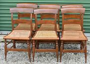 Antique Tiger Maple Sheraton Style Side Chairs With Cain Seats Set Of 6