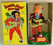 Battery Op Rock And039n Roll Monkey Tin Toy Mint In Box 1950and039s Japan Alps Works Great