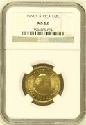 South Africa Ngc Graded 1961 Half Cent Ms62