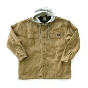 Hooded Canvas Shirt Jacket With Quilted Lining Brown Duck 3xl Great Cond