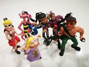 1980s Made In Spain Plastic Figures Lot Key Rings Removable M. Jackson, Madonna,
