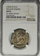 Silvered Ht-27a William Seward Ngc Au 55 Almost Uncirculated Hard Times Token