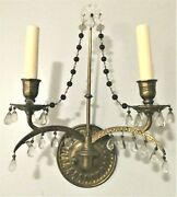 💡e. F. Caldwell And Co Bronze And Crystal Wall Sconces. Amethyst And Clear Crystals