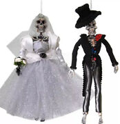 Katherine's Collection Halloween Day Of The Dead Bride And Groom Skeletons-retired